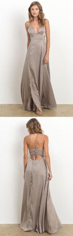 Simple A-Line Deep V-Neck Chiffon Long Prom Dress Evening Dress With Split