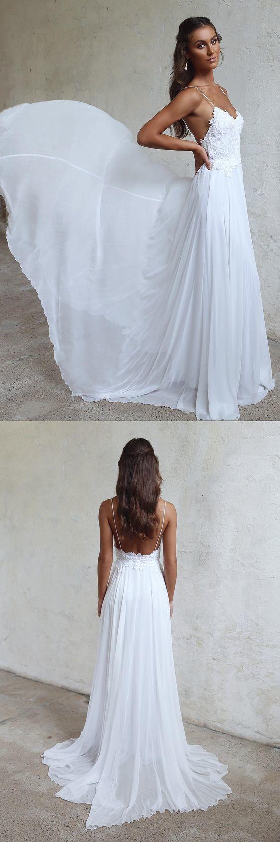Boho Beach Wedding Dresses Sexy Open Backs Lace White Wedding Gown