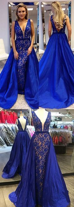 A-Line V-Neck Sweep Train Royal Blue Stretch Satin Prom Dress With Lace Beading