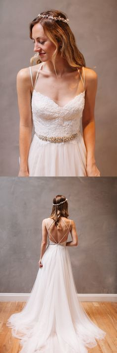 Charming A-Line Spaghetti Straps White Tulle Long Wedding Dress With Lace