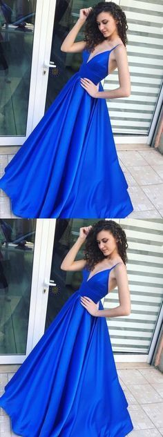 Royal Blue A-Line,Spaghetti Straps Satin Prom Dress With Pleats
