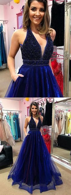 Blue v neck beaded long prom dress, blue
