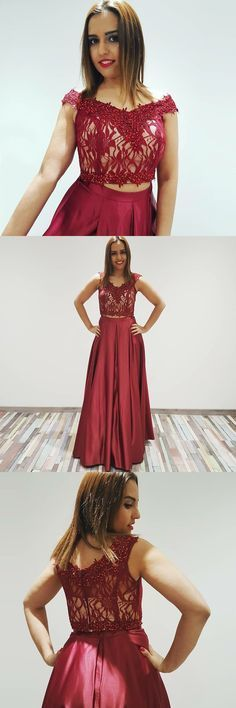 Modern Two Piece A-Line, Off-The-Shoulder Burgundy Long Prom