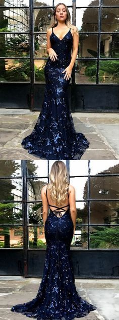 Spaghetti Straps Mermaid, Navy Blue Backless Prom