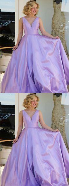 Cheap Long Prom Dresses,Lilac Satin V-neck Long Formal