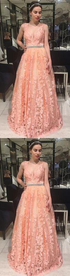 Princess V Neck Pink Lace Long Prom Dress