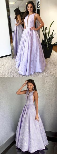 A-Line Round Neck Floor-Length Lilac Printed Prom Dress