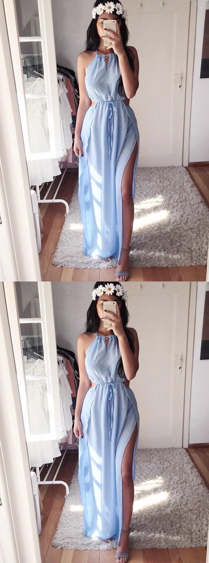A-Line Crew Floor-Length Light Blue Chiffon Prom Dress with Split