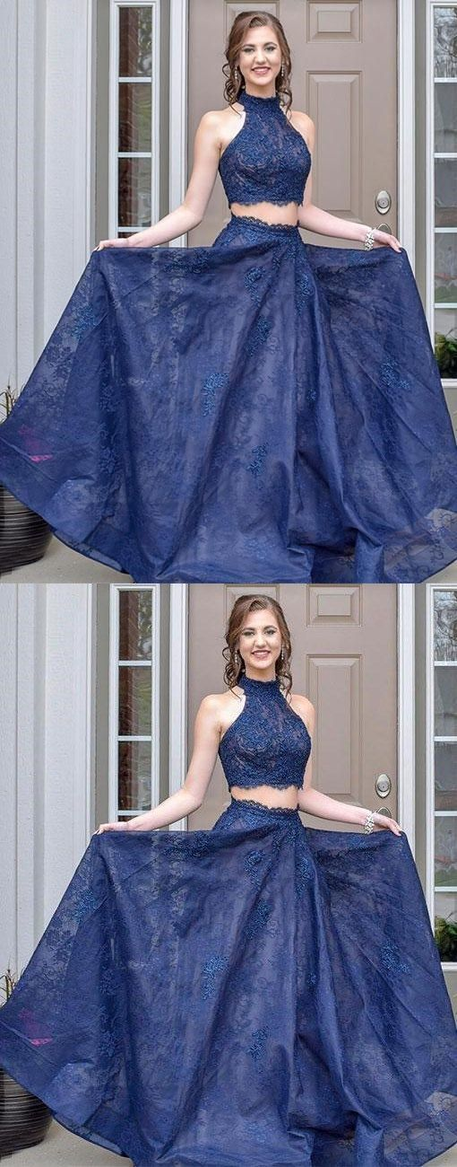 Blue two pieces long prom dress, lace evening