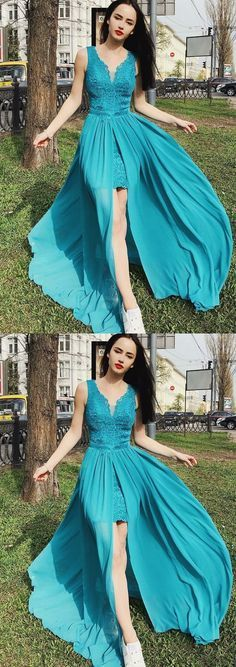 V-Neck Turquoise Chiffon Prom Party Homecoming Dress
