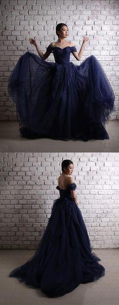 Dark blue tulle long prom dress, off shoulder