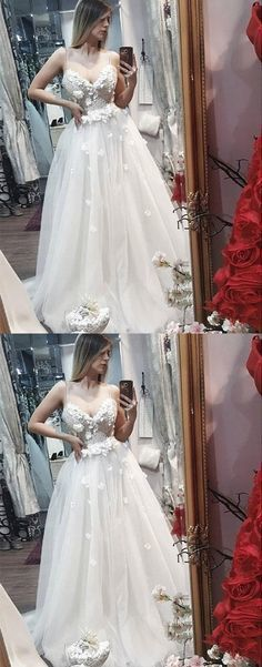 White sweetheart neck lace applique long prom dress