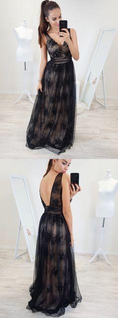 A-Line V-Neck Backless Floor-Length Black Prom Dress