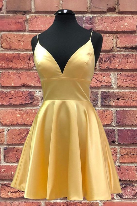 Sexy Straps Yellow Satin Short Prom Dress, Open Back Mini Cocktail Dress