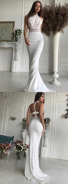Mermaid High Neck Open Back Sweep Train White