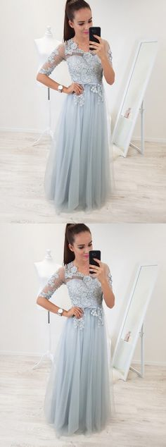 A-Line Scoop Half Sleeves Floor-Length Light Blue Prom
