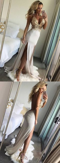 Mermaid Deep V-Neck Backless Floor-Length White Prom Dress