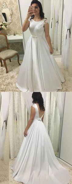 White A line satin long prom dress, white