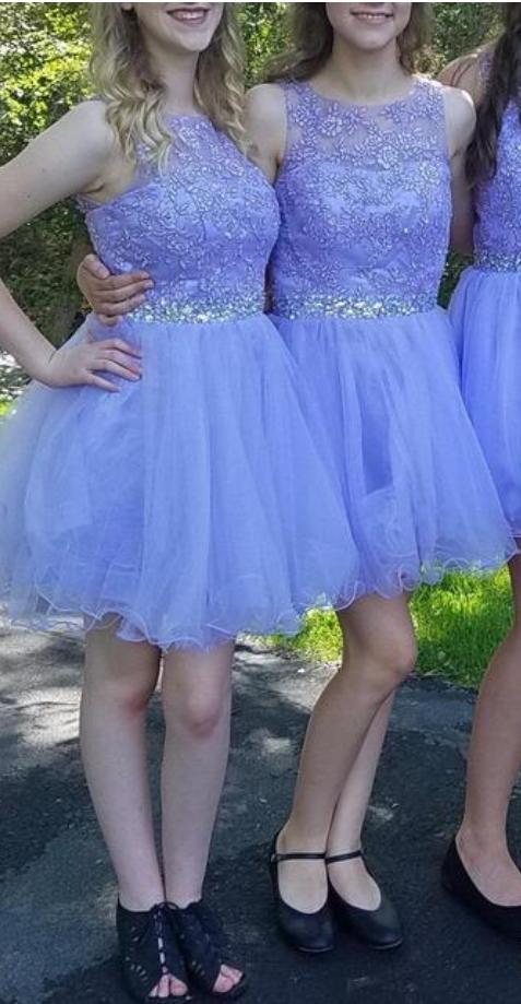 Elegant Tulle Short Appliques Bridesmaid Dress,  A Line Homecoming Dress