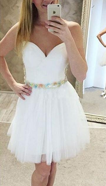Sweetheart White Short Prom Dress, White Homecoming Dress, Dance Dress
