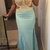 Charming Appliques Light Blue Mermaid Long Prom Dress with Slit, Sexy Evening