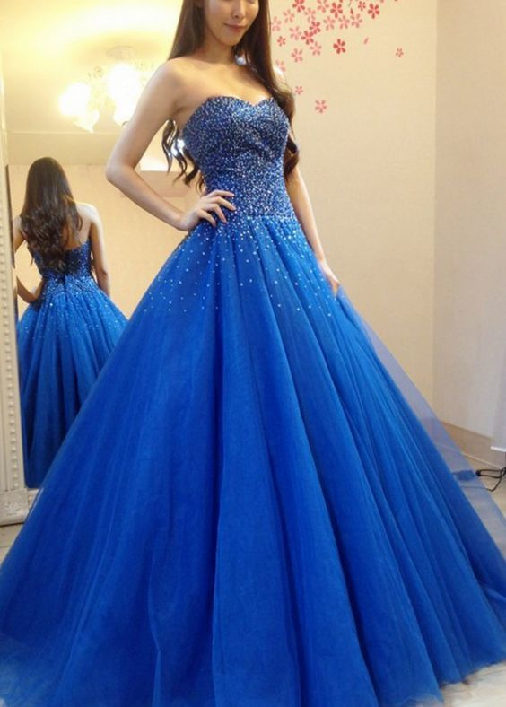 Fashion Beaded Royal Blue Tulle Ball Gown Prom Dress, Formal Evening Dress,