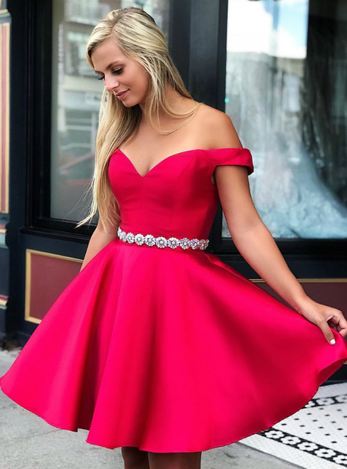 Off the Shoulder Red Homecoming Dress,  Satin Homecoming Dress, Dance Dress
