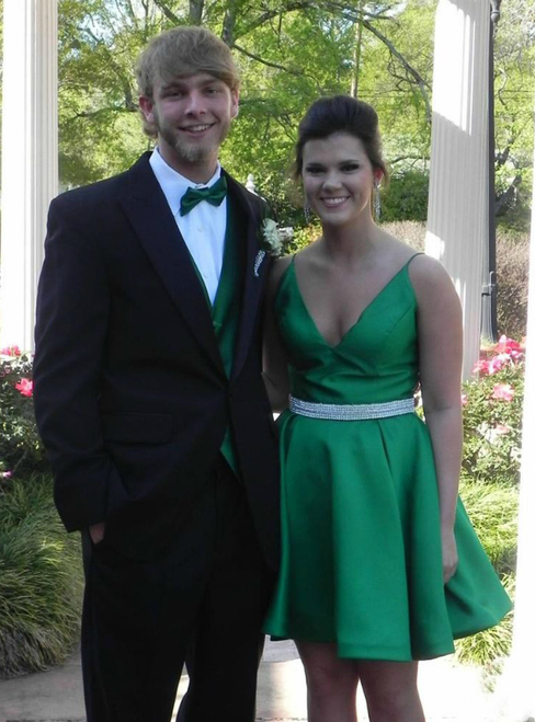 Green V neck Satin Short Party Dress, Sexy Wedding Party Gown