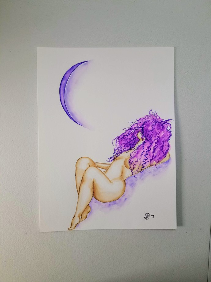 Original Nude Woman with Crescent Moon Watercolor