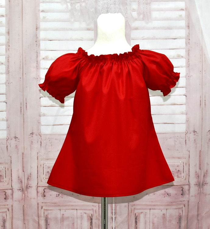 Red Top, Girls Red Peasant Top, Red Peasant Top 12M To 7, Girl Blouse, Infant