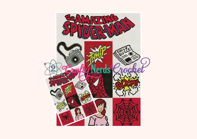 Spiderman Cal Pattern Graph With Single Crochet Written
