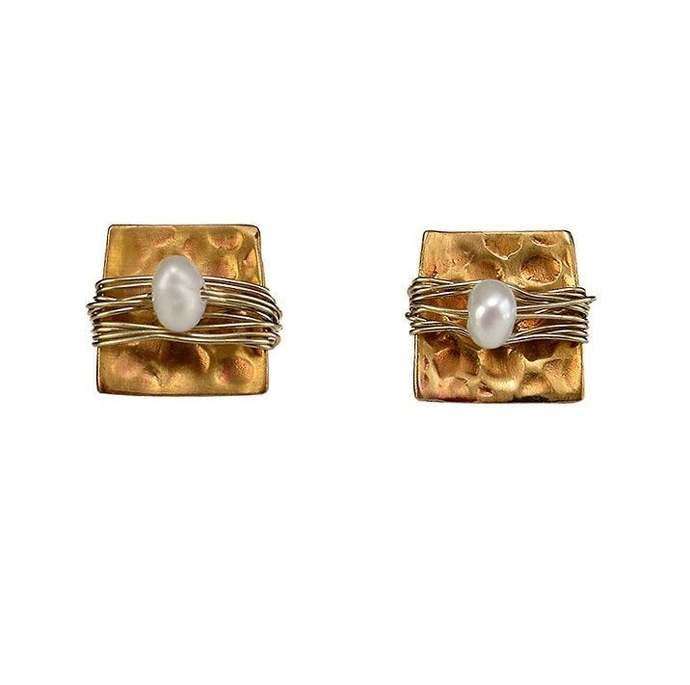 Gold pearl  square  stud earrings,  bride small delicate earrings, bridesmaid