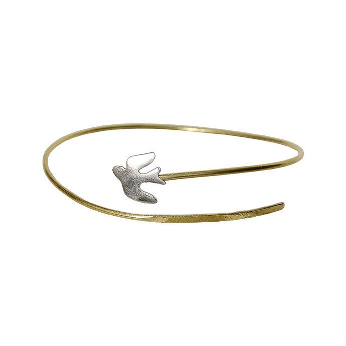 Dainty gold  bird wrap bracelet, swallow mixed metals cuff bracelet, silver gold