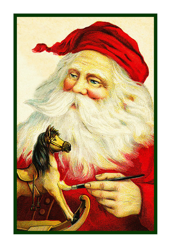 Digital DOWNLOAD Vintage Father Christmas Santa Claus Painting Toy Orenco
