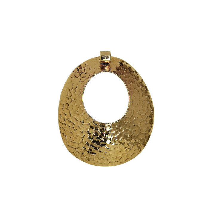 Gold large oval hammered pendant, double sided big medallion, tribal boho