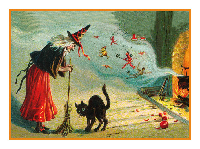 Digital DOWNLOAD Witch Cauldron and a Black Cat Vintage Halloween Orenco