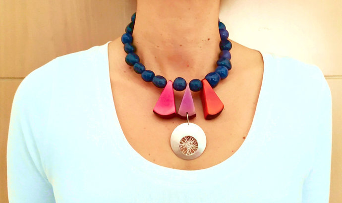 Statement  silver navy and multicolor necklace, tribal chunky African fair trade