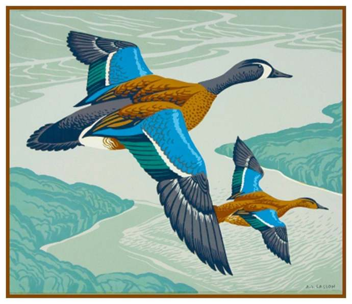 Digital DOWNLOAD Canadian Teal Ducks Birds by A.J. Casson Orenco Originals