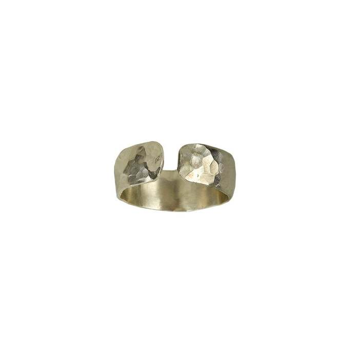 Silver simple hammered open band ring, plain wide pinky ring, little finger