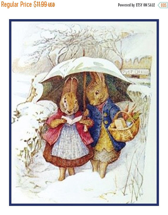 DIGITAL CHART Mr and Mrs Rabbit Have a Snow Day by Beatrix Potter Orenco