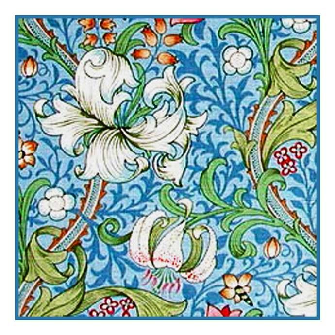 DIGITAL Download William Morris's Golden Lily in Light Blue Orenco Originals