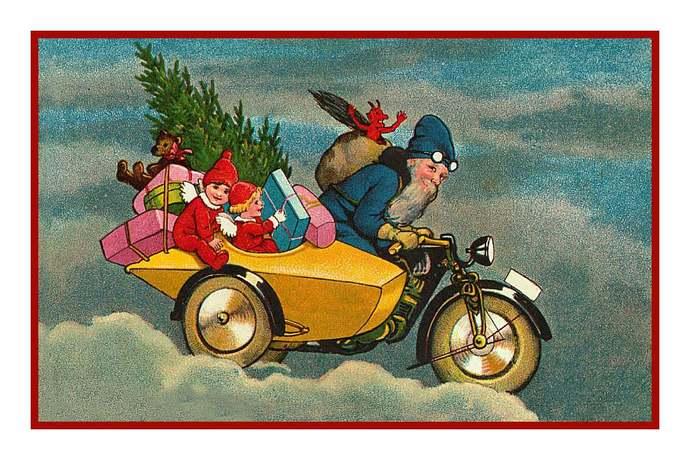 Digital DOWNLOAD Vintage Motor Cycling Father Christmas Santa Claus Orenco