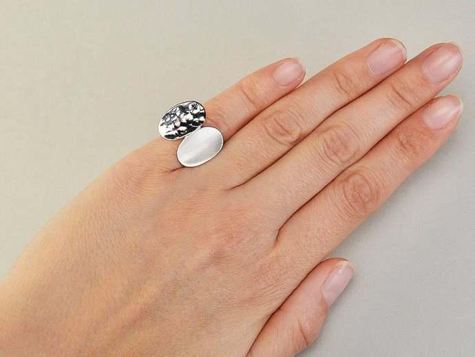 Sterling silver oval pinky ring, little finger sisters ring, geometric designer