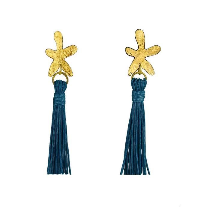 Flower blue  tassel stud earrings, gold floral boho earrings, fringe statement