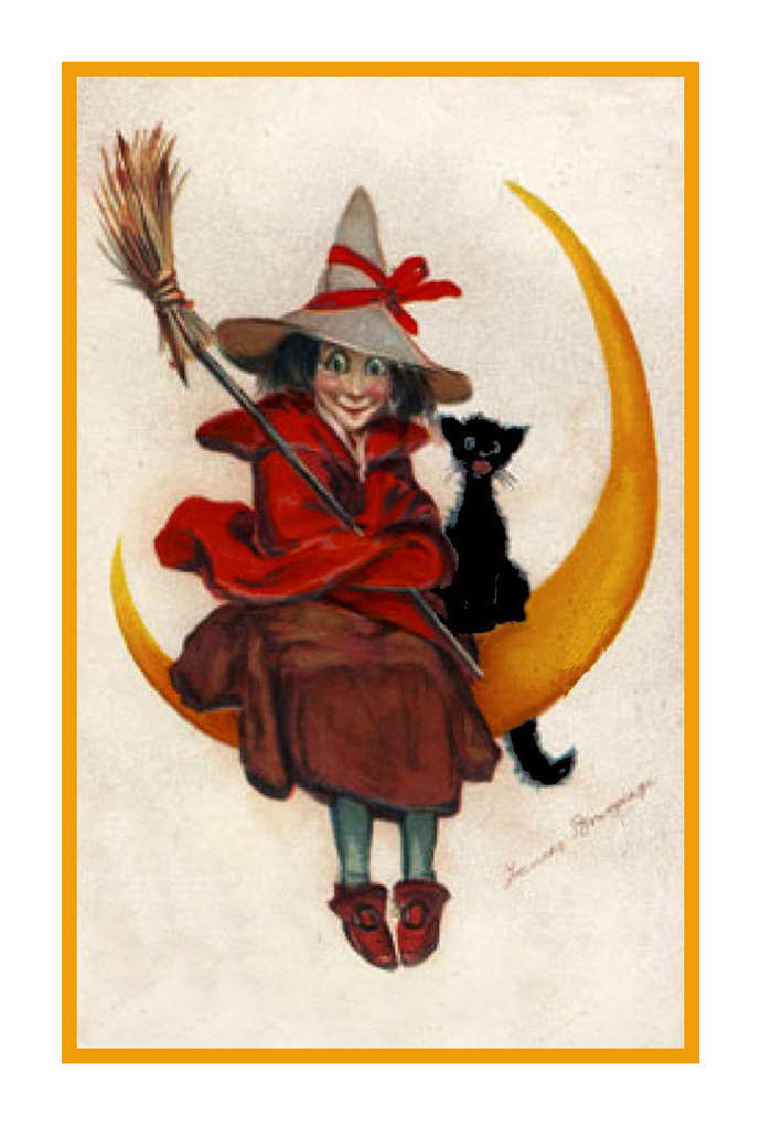 Digital DOWNLOAD Witch Sitting on Moon With Black Cat Vintage Halloween Orenco