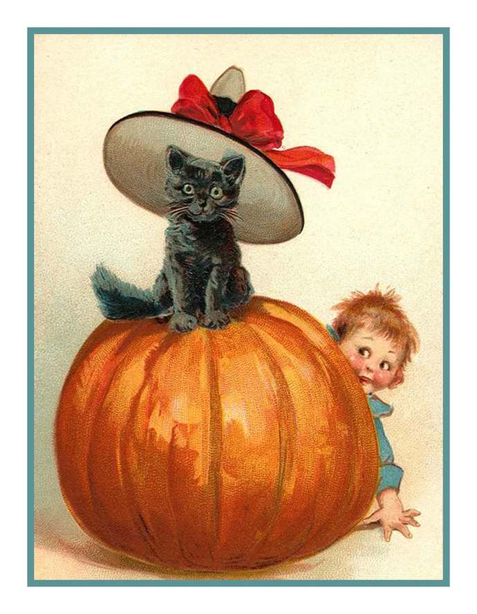 Digital DOWNLOAD Child and Black Cat on a Pumpkin Vintage Halloween Orenco