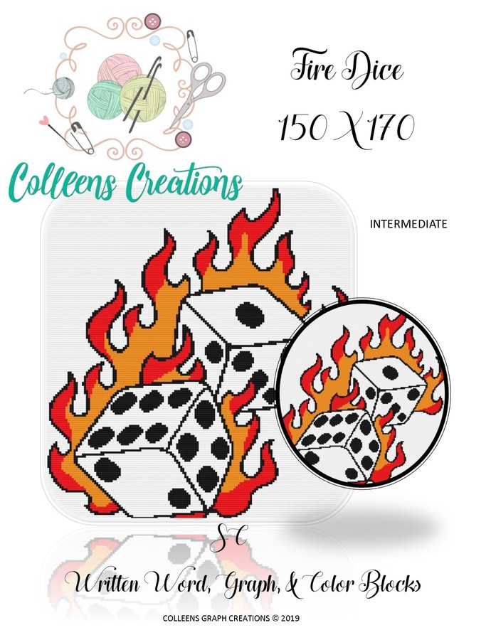 Fire Dice Crochet Written and Graph Design
