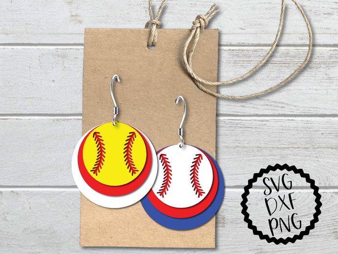 Baseball Earrings svg, Softball Earrings Clip Art, dxf, png, Cut Files