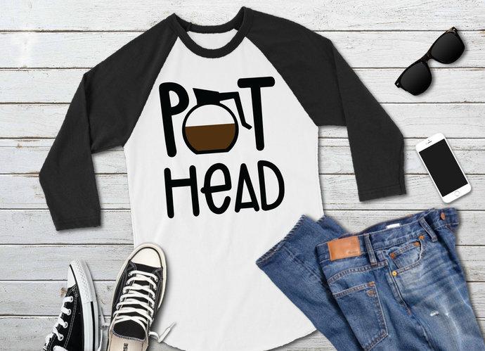 Pot Head svg, Coffee Pot Clip Art, Coffee Addict, svg, dxf, png, Cut Files