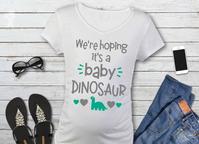 Baby Dinosaur svg, We're Hoping It's a Baby Dinosaur, Maternity, Dinosaur Clip